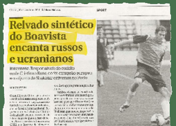 """""""El sintético del Boavista encanta rusos y ucranianos"""" - Diario de noticias - 30/01/2010"""